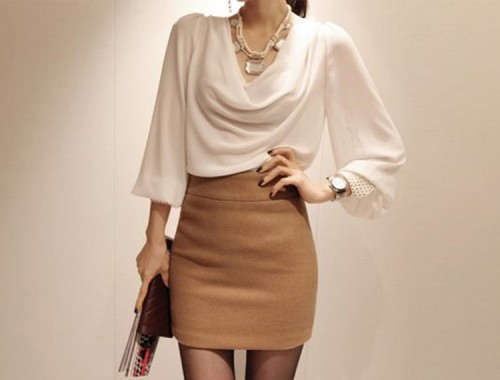 Chiffon Drop Neck Blouse From Front