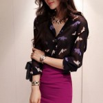 Chiffon Button Up Blouse in Leopard Print