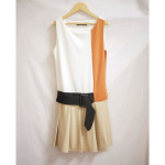Pleated Colorblock Dress with Belt - Front