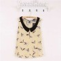 Sleeveless Top with Peter Pan Collar in Bird Print
