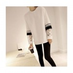 Blouse with Stripe Cuff & Contrast Lace Panel