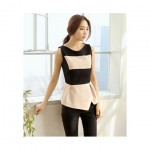 Colorblock Top with Asymmetric Hem