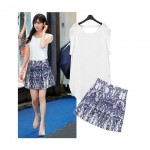 Chiffon Top with Geo Print Mini Skirt (Set)