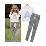 "Top with Letter ""A"" Print and Stripe Pants (Set)"