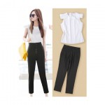 Top with Ruffle Sleeve and High Waist Trouser (Set)