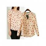 Chiffon Shirt with Strawberry Print
